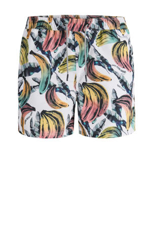 zwemshort Aruba met all over print wit