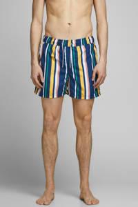 JACK & JONES JEANS INTELLIGENCE gestreepte zwemshort Aruba donkerblauw/geel, Donkerblauw/geel