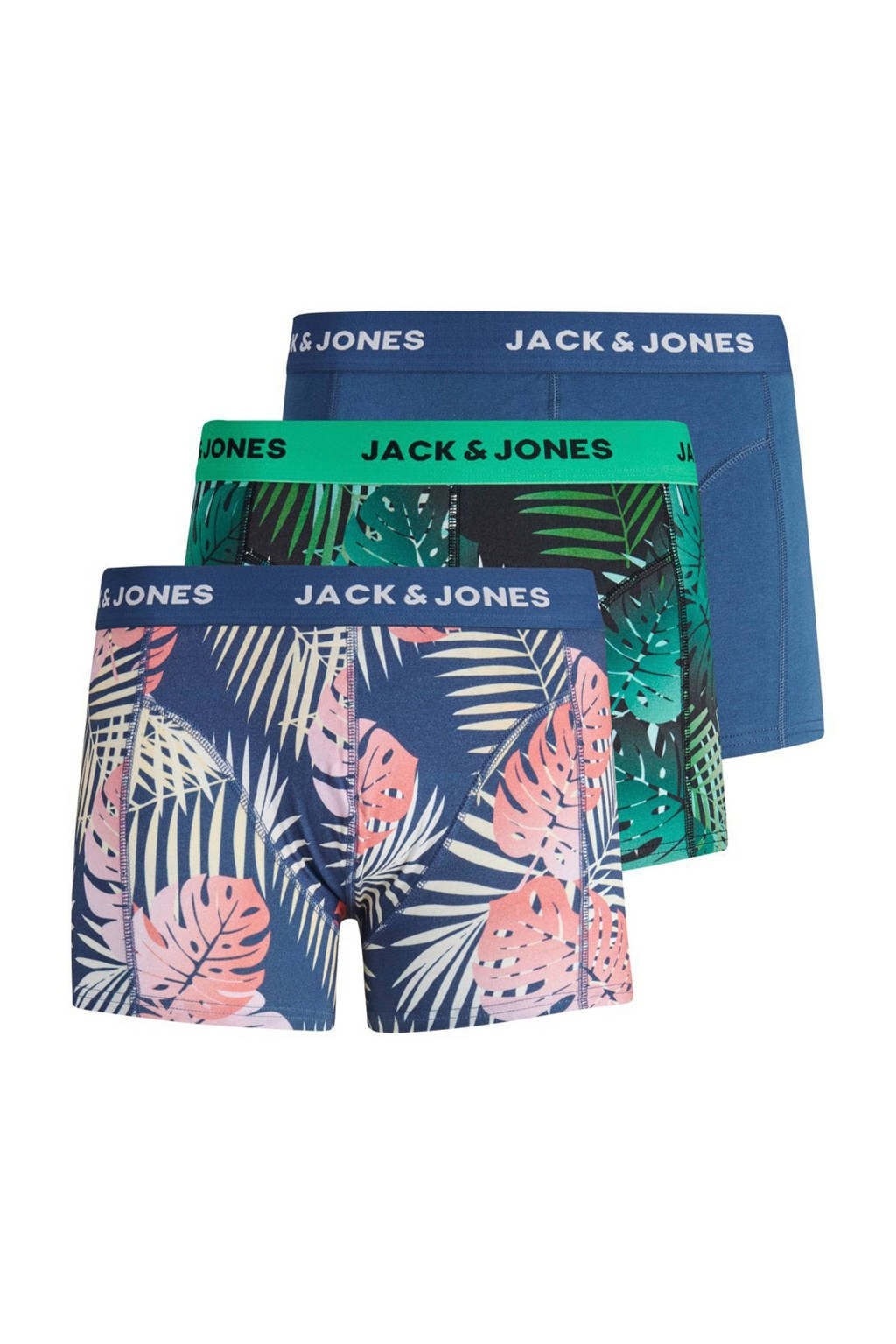 JACK & JONES boxershort (set van 3), Blauw/groen/roze