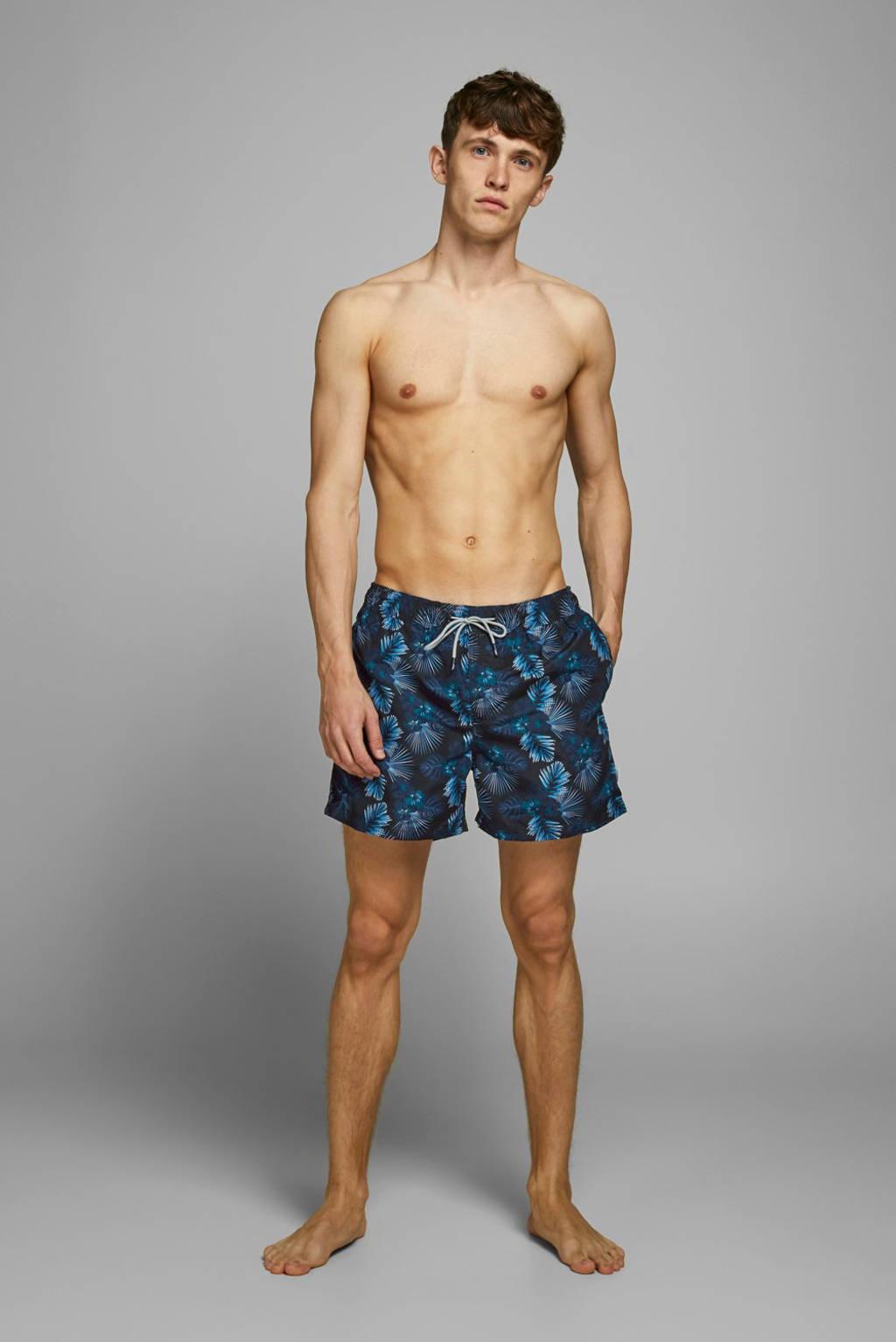 JACK & JONES JEANS INTELLIGENCE zwemshort Aruba met all over print zwart/blauw, Zwart/blauw