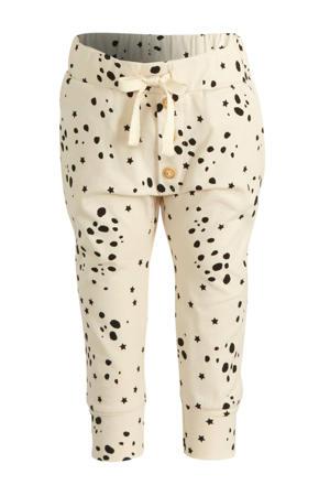 broek Pants Wild Stars met all over print ecru/zwart