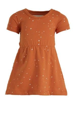 T-shirtjurk Dots met all over print bruin