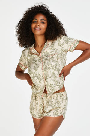 pyjamashort met all over print beige