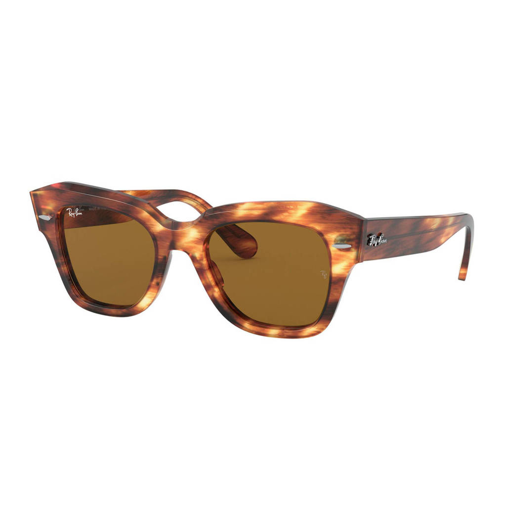 Ray-Ban zonnebril STATE STREET bruin, Stripped havana bruin