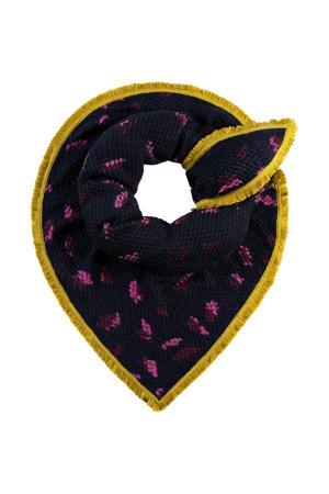 sjaal donkerblauw/geel