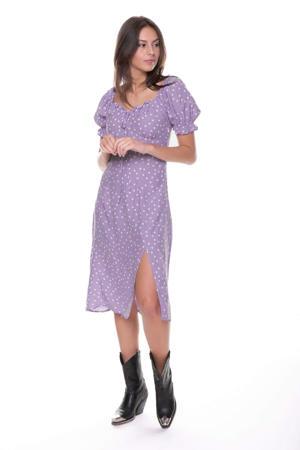 jurk Lora met stippen en ruches lila