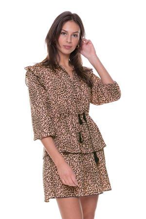 A-lijn jurk Saar met panterprint en ruches lichtroze/ zwart