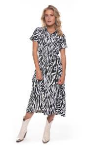 Colourful Rebel blousejurk Dalia met zebraprint en ceintuur zwart/ gebroken wit, Zwart/ gebroken wit