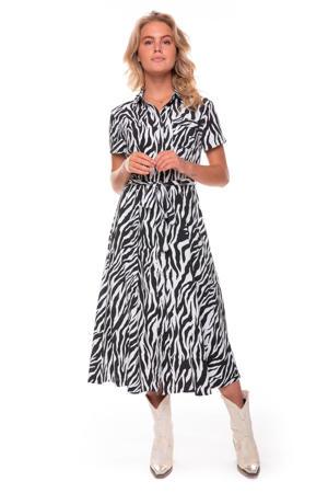 blousejurk Dalia met zebraprint en ceintuur zwart/ gebroken wit