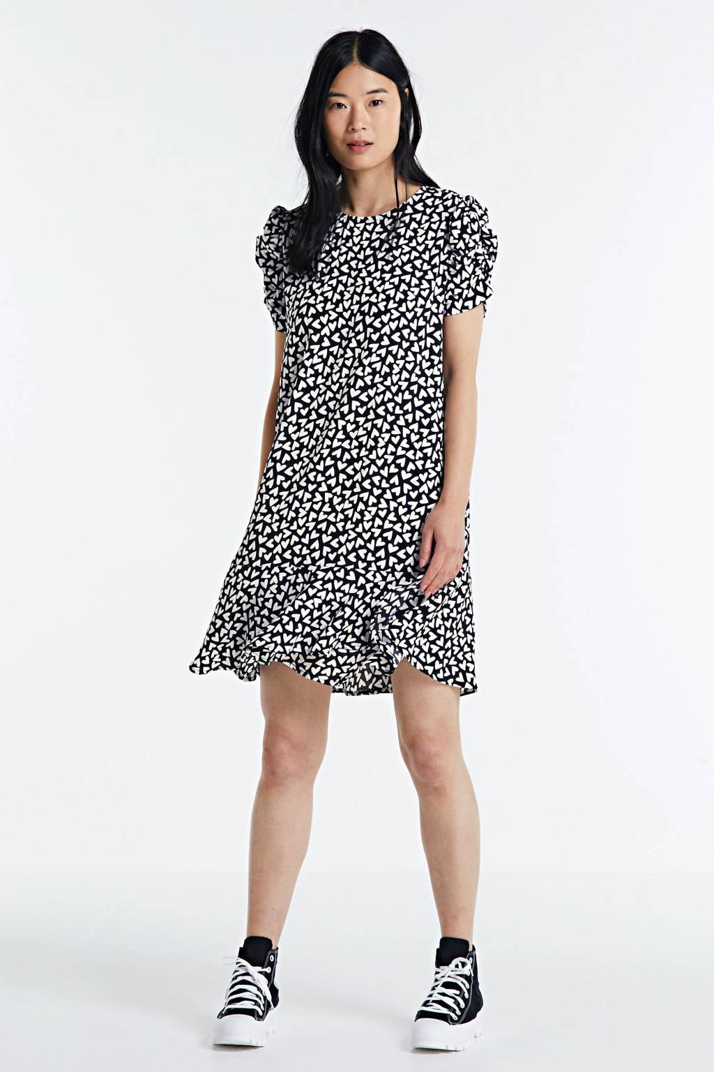 Colourful Rebel jurk Lies Hearts met hartjes en volant zwart/ wit