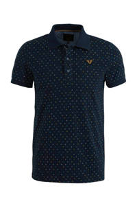 PME Legend slim fit polo met all over print donkerblauw, Donkerblauw
