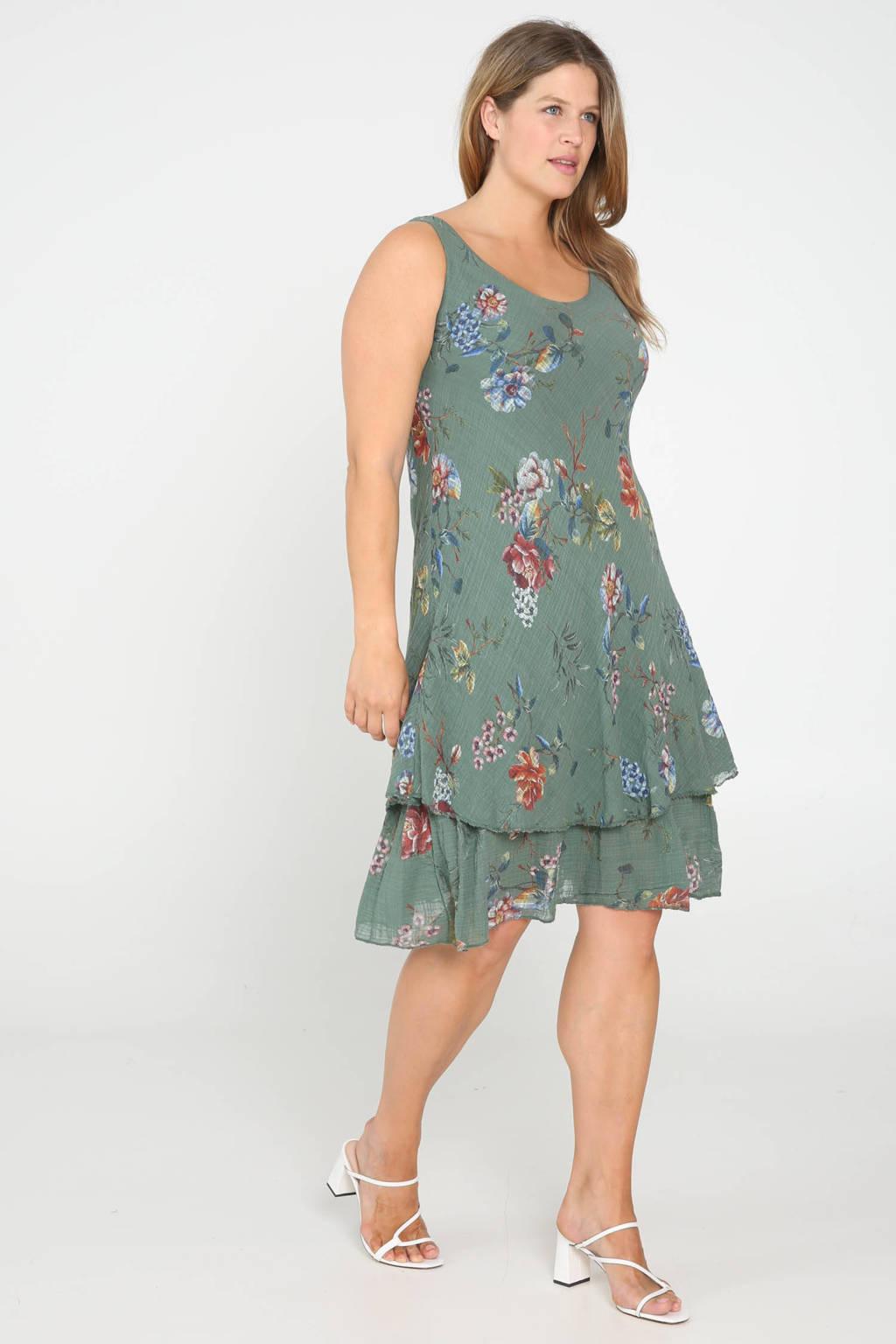 Paprika gebloemde jurk groen, Groen