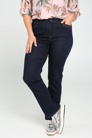 straight fit jeans met pailletten donkerblauw