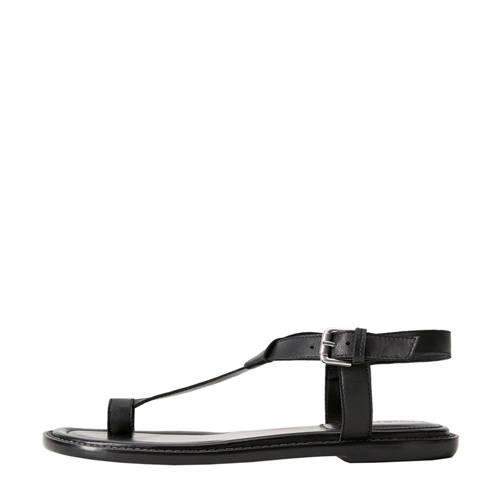 Violeta by Mango leren sandalen zwart
