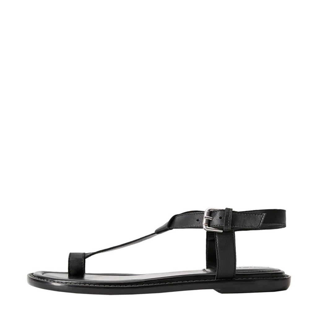 Violeta by Mango   leren sandalen zwart, Zwart