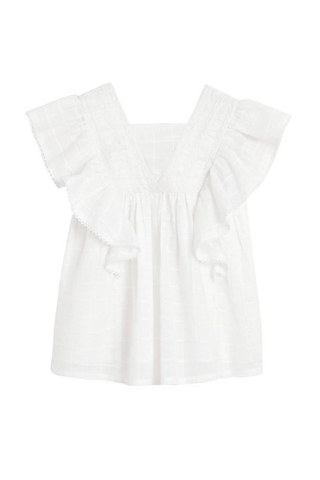 Mango Kids kanten A-lijn jurk met borduursels wit, Wit