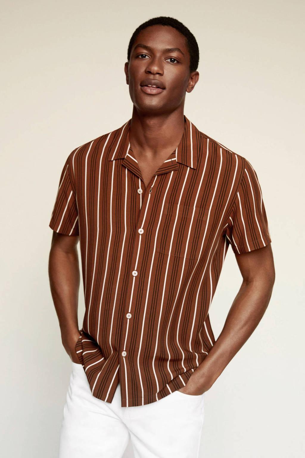 Mango Man gestreept regular fit overhemd bruin, Bruin