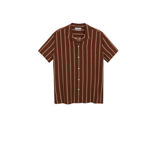 Mango Man gestreept regular fit overhemd bruin