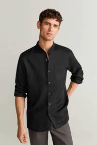 Mango Man linnen regular fit overhemd zwart, Zwart