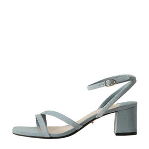 suède sandalettes pastelblauw
