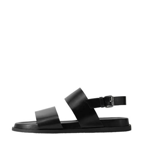 Mango Man leren sandalen zwart