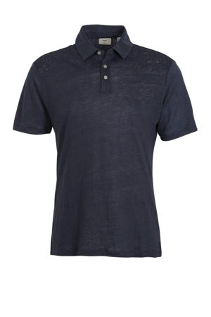gemêleerde linnen slim fit polo marineblauw