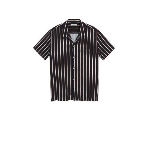 Mango Man gestreept regular fit overhemd zwart