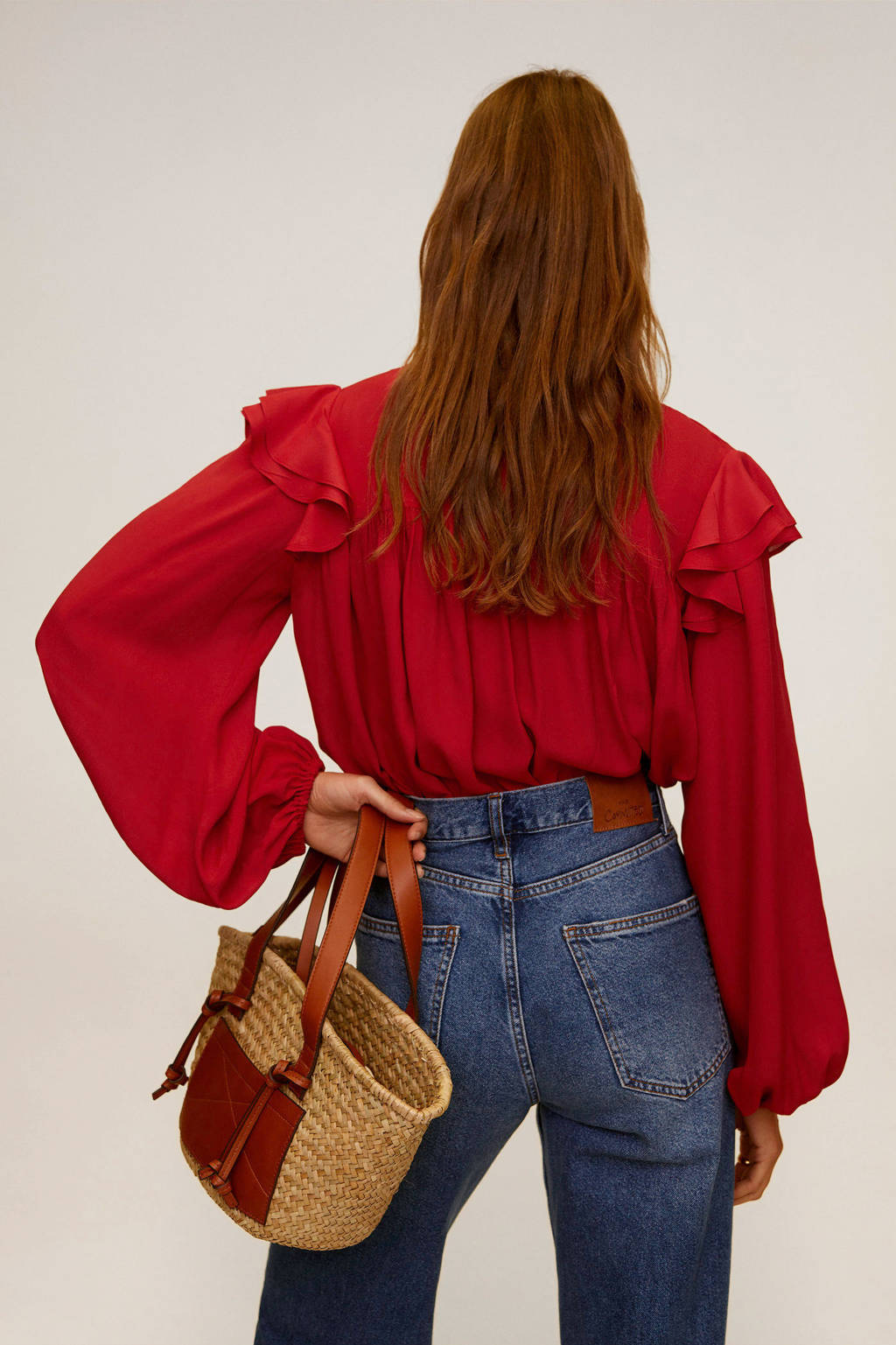 Mango blouse en ruches rood, Rood