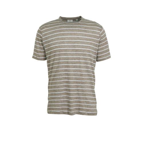 Mango Man gestreept linnen T-shirt middenbruin