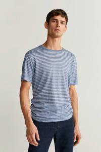 Mango Man gestreept linnen T-shirt middenblauw