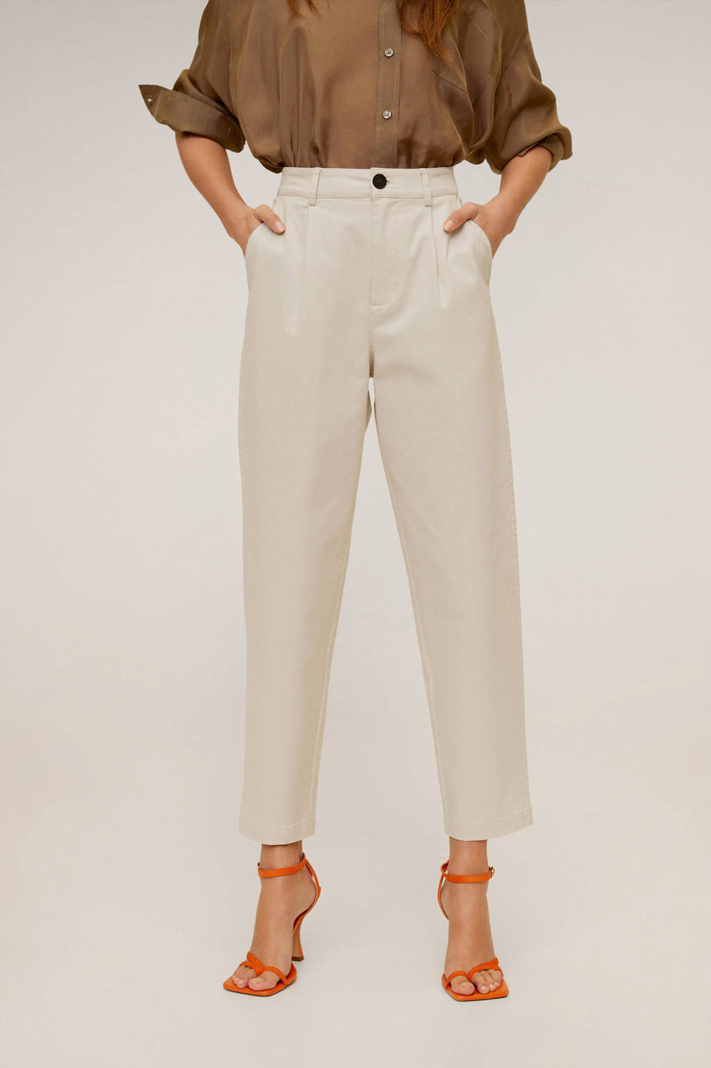 Mango cropped loose fit broek ecru, Ecru