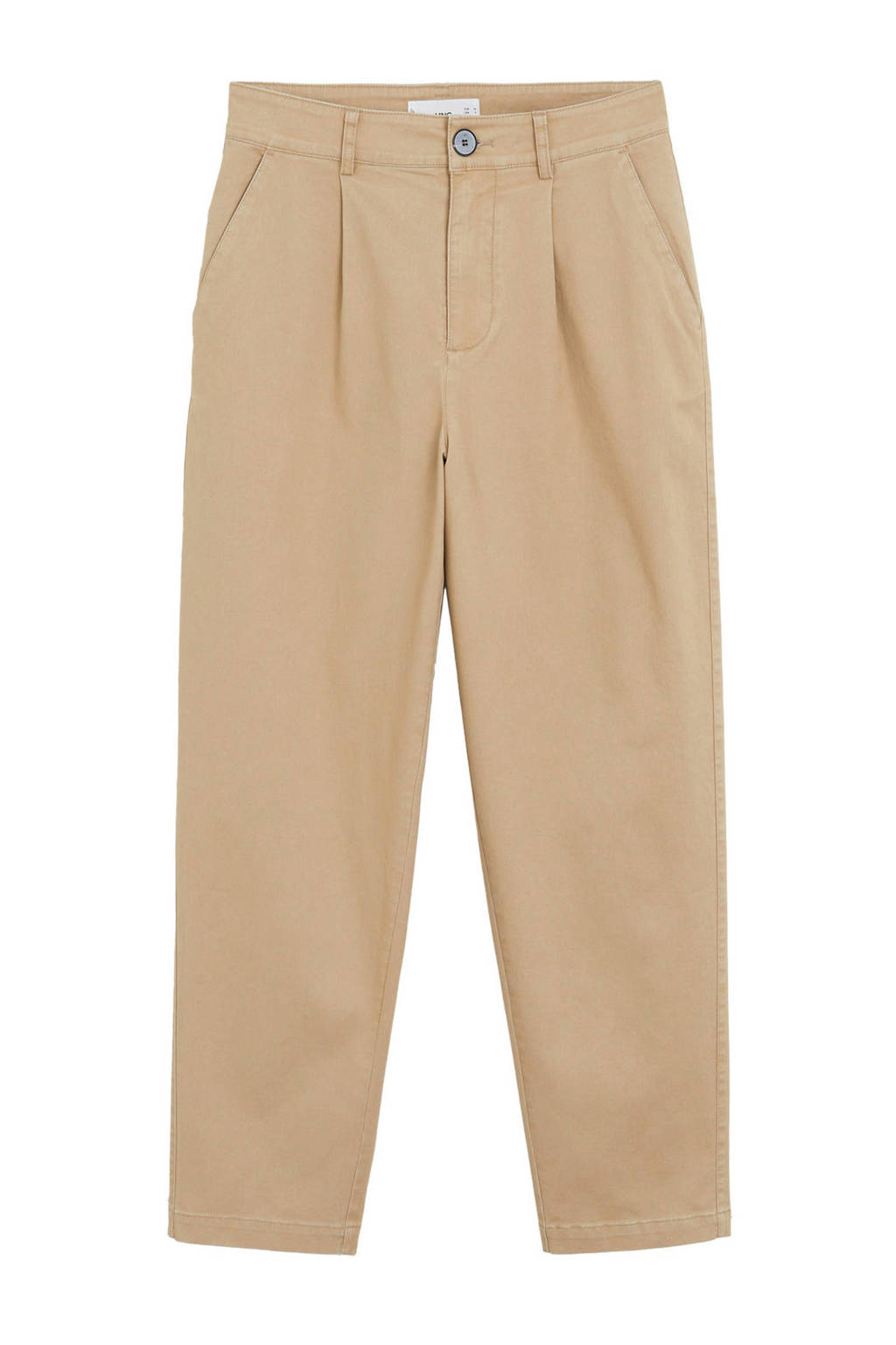 Mango cropped loose fit broek beige, Beige