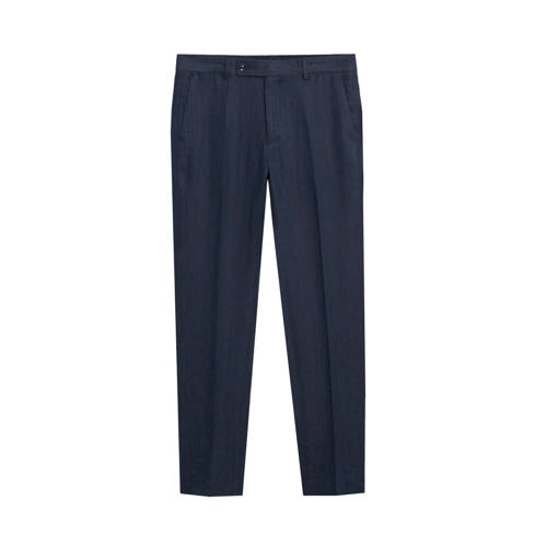 Mango Man linnen slim fit pantalon marineblauw