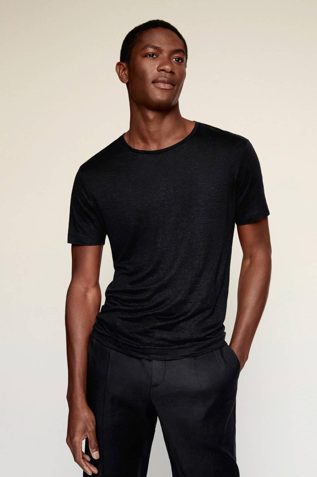 Mango Man linnen T-shirt zwart, Zwart