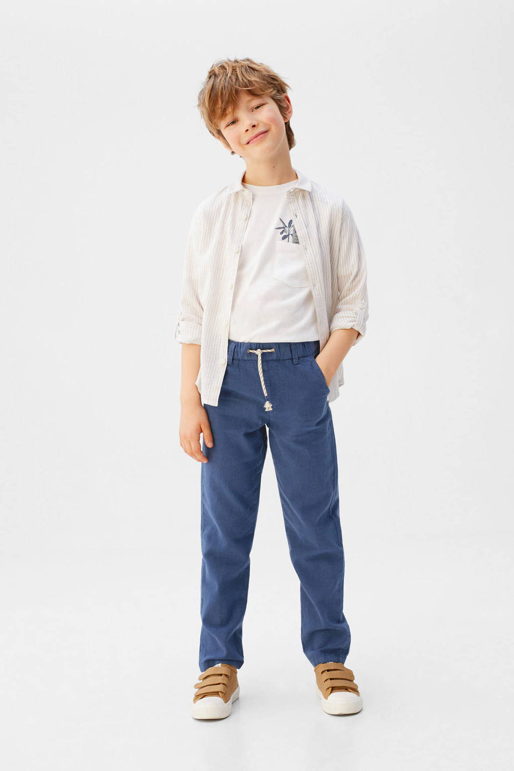 Mango Kids straight fit broek blauw, Blauw