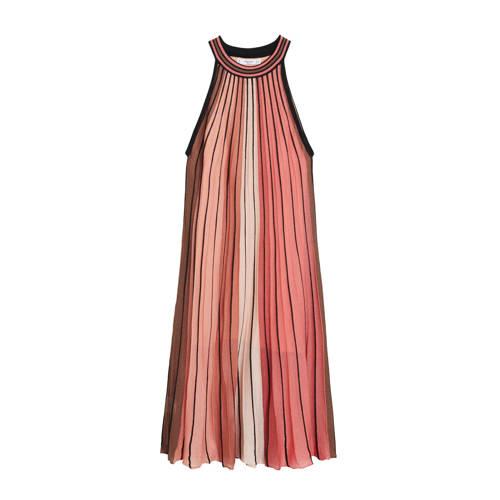 Mango gestreepte halter jurk roze