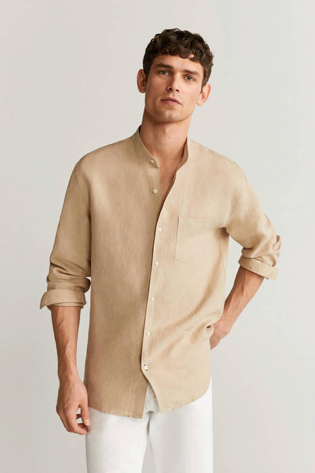 Mango Man linnen regular fit overhemd lichtbeige, Lichtbeige