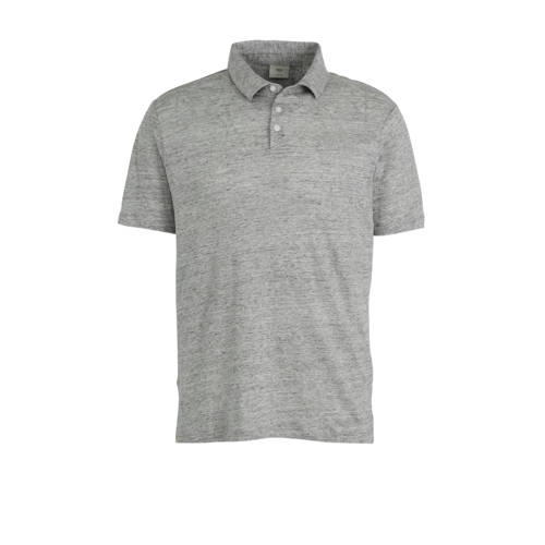 Mango Man gem??leerde linnen regular fit polo grij