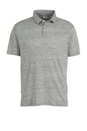 gemêleerde linnen regular fit polo grijs