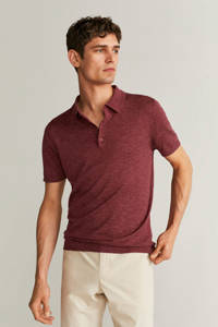 Mango Man regular fit polo donkerrood, Donkerrood
