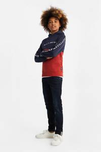 WE Fashion hoodie met tekst donkerblauw/rood, Donkerblauw/rood