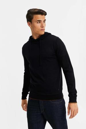 fijngebreide hoodie zwart