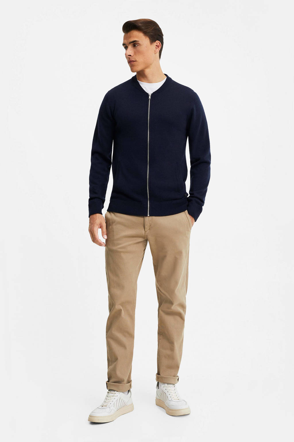 WE Fashion fijngebreid wollen vest donkerblauw, Donkerblauw