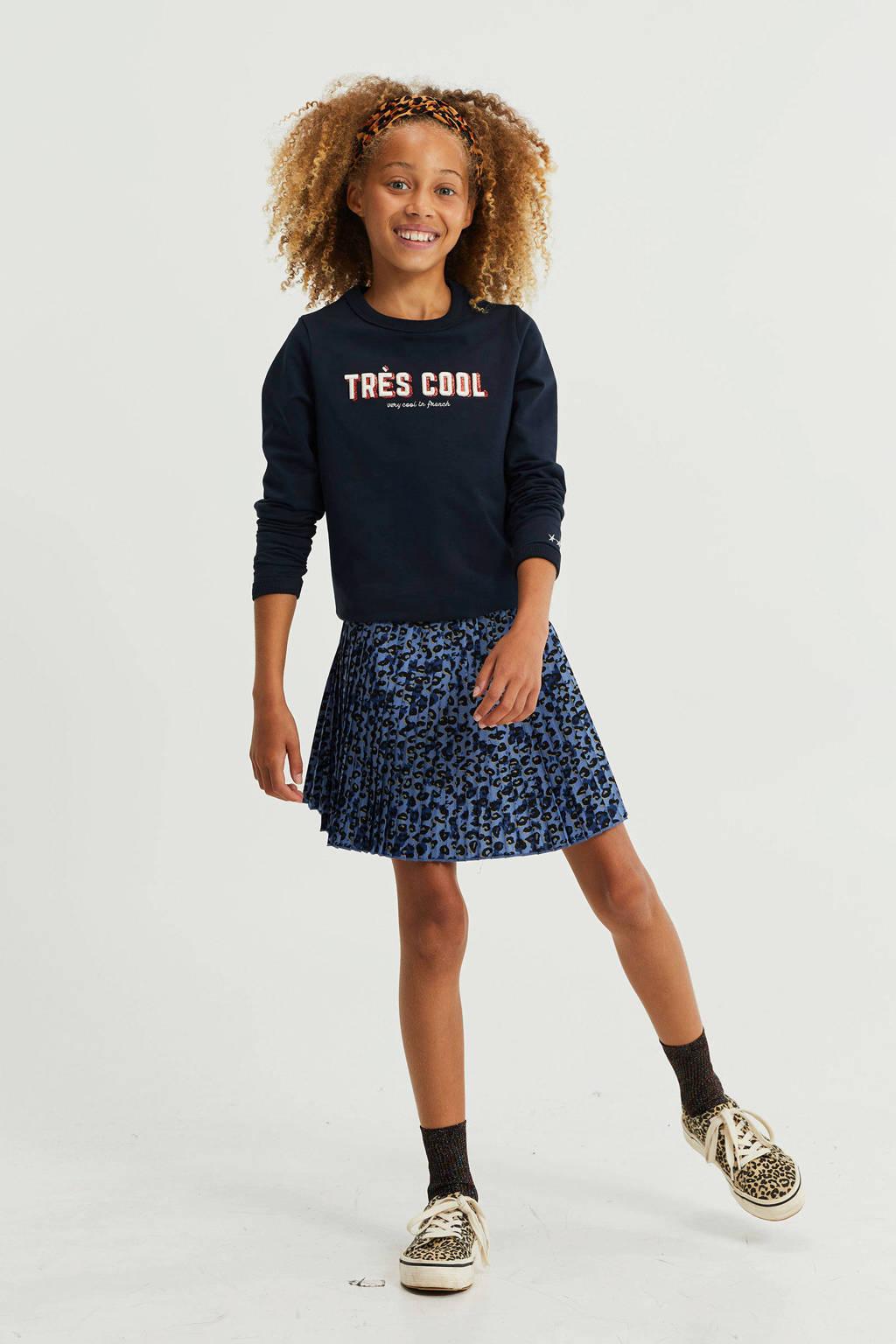 WE Fashion rok met panterprint deep blue, Deep blue