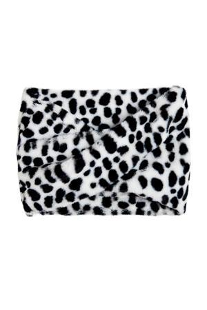 colsjaal met panterprint wit/zwart