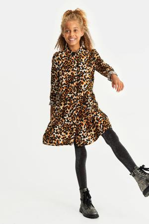 regular fit blousejurk donker oranje/zwart/wit