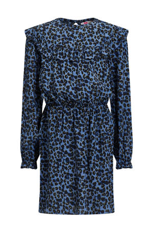 jurk met panterprint en volant donkerblauw