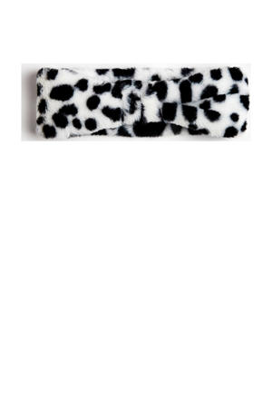 hoofdband met panterprint wit/zwart