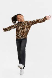 WE Fashion blouse met panterprint en plooien bruin/oranje/zwart, Bruin/oranje/zwart