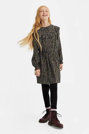 jurk met panterprint en volant kaki